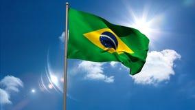 Bandeira nacional de Brasil que acena no mastro de bandeira ilustração do vetor