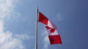 Bandeira nacional de Canadá em um mastro de bandeira filme