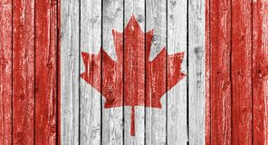 Bandeira nacional de Canadá no fundo de madeira branco velho Foto de Stock Royalty Free