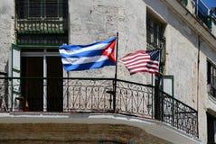 Bandeira nacional de Cuba e de EUA Fotos de Stock Royalty Free