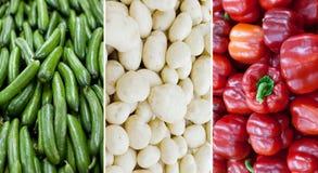 Bandeira nacional de Itália feita dos pepinos, das batatas e de pimentas de Bell vermelhas imagens de stock royalty free