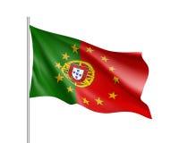 Bandeira nacional de Portugal com um círculo da estrela da UE ilustração royalty free