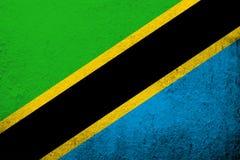 A bandeira nacional de República Unida da Tanzânia Fundo do Grunge imagem de stock