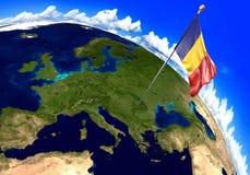 Bandeira nacional de Romênia que marca o lugar do país no mapa do mundo rendição 3d ilustração do vetor