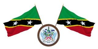 Bandeira nacional e a ilustração da brasão 3D de Saint Kitts e Nevis Fundo para editores e desenhistas naturalizado ilustração stock