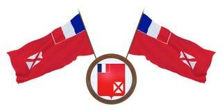 Bandeira nacional e a ilustração da brasão 3D de Wallis e de Futuna Fundo para editores e desenhistas naturalizado ilustração stock