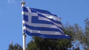 Bandeira nacional grega que acena no vento