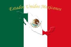 Bandeira nacional mexicana com Eagle Coat Of Arms e texto Estados Imagens de Stock Royalty Free