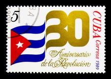 Bandeira nacional, o 30o aniversário do serie da revolução, cir Imagem de Stock