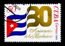 Bandeira nacional, o 30o aniversário do serie da revolução, cir Fotos de Stock