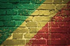 Bandeira nacional pintada da República Democrática do Congo em uma parede de tijolo Fotos de Stock Royalty Free