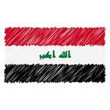 A bandeira nacional tirada mão de Iraque isolou-se em um fundo branco Ilustração do estilo do esboço do vetor ilustração do vetor