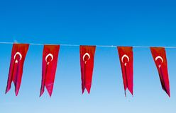 Bandeira nacional turca na vista Fotografia de Stock Royalty Free