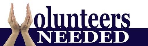 Bandeira necessário da campanha dos voluntários imagem de stock