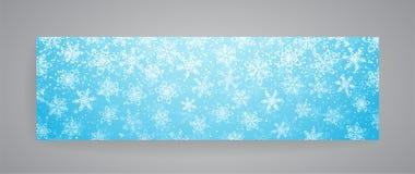 Bandeira nevado do inverno com flocos de neve Vetor Fotos de Stock Royalty Free