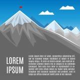 Bandeira no pico de montanha, no sucesso ou na ilustração do conceito do negócio Fotos de Stock Royalty Free