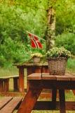Bandeira norueguesa e local verde do piquenique Fotografia de Stock
