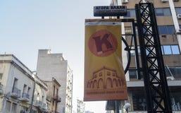 Bandeira nova aberta do logotipo do mercado público de Tessalónica, Grécia Kapani Imagem de Stock