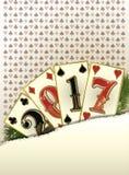 Bandeira nova do casino de 2017 anos com cartões do pôquer Fotos de Stock Royalty Free
