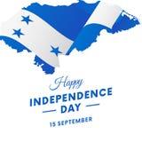 Bandeira ou cartaz da celebração do Dia da Independência das Honduras Mapa das Honduras Bandeira de ondulação Ilustração do vetor Fotos de Stock Royalty Free