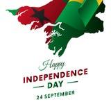 Bandeira ou cartaz da celebração do Dia da Independência de Guiné-Bissau Mapa de Guiné-Bissau Bandeira de ondulação Ilustração do Fotos de Stock Royalty Free