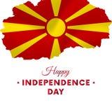 Bandeira ou cartaz da celebração do Dia da Independência de Macedônia Mapa de Macedônia Bandeira de ondulação Ilustração do vetor Imagens de Stock Royalty Free
