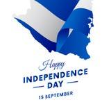 Bandeira ou cartaz da celebração do Dia da Independência de Nicarágua Mapa de Nicarágua Bandeira de ondulação Ilustração do vetor Fotos de Stock Royalty Free