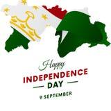 Bandeira ou cartaz da celebração do Dia da Independência de Tajiquistão Mapa de Tajiquistão Bandeira de ondulação Ilustração do v Imagem de Stock Royalty Free