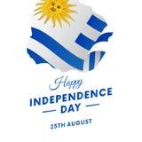 Bandeira ou cartaz da celebração do Dia da Independência de Uruguai Mapa de Uruguai Bandeira de ondulação Ilustração do vetor Imagem de Stock