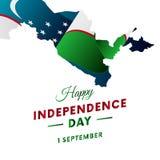 Bandeira ou cartaz da celebração do Dia da Independência de Usbequistão Mapa de Usbequistão Bandeira de ondulação Ilustração do v Fotos de Stock Royalty Free