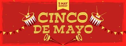 Bandeira ou cartaz de encabeçamento da celebração de Cinco De Mayo com data do 5 de maio domingo ilustração stock
