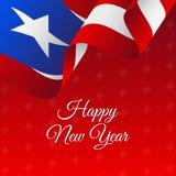 Bandeira ou cartaz de Puerto Rico Happy New Year Fundo bonito do Natal Fotografia de Stock Royalty Free