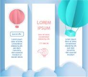 Bandeira ou inseto com os balões ao estilo do projeto de papel em um fundo azul Imagem bonito do vetor Imagens de Stock Royalty Free