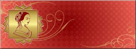 Bandeira ou logotipo da mulher Fotos de Stock Royalty Free