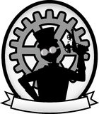 Bandeira oval cinzenta do emblema do homem de Steampunk da silhueta Imagem de Stock Royalty Free