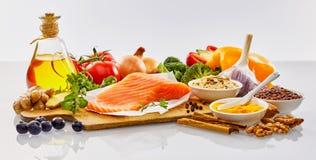 Bandeira panorâmico com alimento saudável para o coração fotografia de stock royalty free