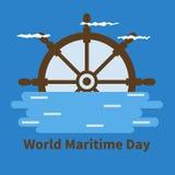 Bandeira para o dia marítimo do mundo com roda, água, nuvens Imagens de Stock Royalty Free