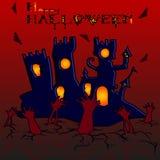 Bandeira para o feriado de Dia das Bruxas, o castelo e as mãos de ilustração royalty free