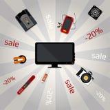 Bandeira para a venda com dispositivos eletrónicos multicoloridos Imagens de Stock Royalty Free