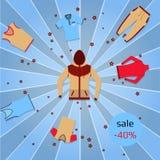 Bandeira para a venda com sportswear multicolorido em um fundo retro dos raios Imagens de Stock