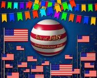 Bandeira patriótica, dedicada ao 4o julho, Dia da Independência dos EUA ilustração royalty free