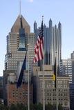 Bandeira perto da cidade Fotos de Stock Royalty Free