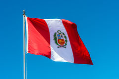 Bandeira peruana Andes no Peru de Puno Foto de Stock Royalty Free