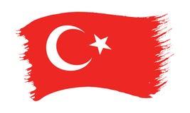 Bandeira pintada pincelada de Turquia fotos de stock