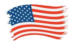 Bandeira pintada pincelada dos EUA foto de stock
