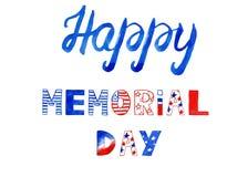 Bandeira pintado à mão para o Memorial Day Mão que rotula o texto feito em cores vermelhas, azuis e brancas da bandeira americana imagens de stock royalty free
