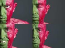 Bandeira Portugal da face do homem e quatro expressões fotografia de stock royalty free