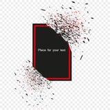 Bandeira preta com quadro vermelho com os fragmentos isolados no fundo Explosão preta abstrata com partículas pequenas Vetor ilustração royalty free