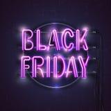 Bandeira preta da luz de néon de sexta-feira Ilustração do vetor Foto de Stock Royalty Free