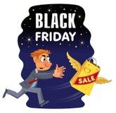 Bandeira preta da venda de sexta-feira Homem que tenta travar o saco de compras foto de stock royalty free